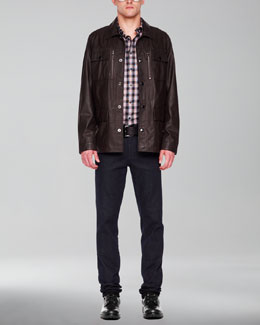Michael Kors  Leather Utility Jacket & Check Tailored Shirt