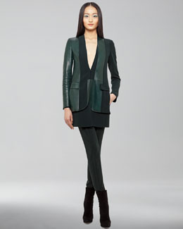Akris Doyle Leather-Paneled Jacket, Long Gilet & Marcie Double-Faced Wool Pants