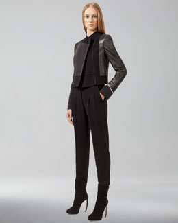 Akris Dover Cropped Patchwork Jacket & Pleated-Front Pants