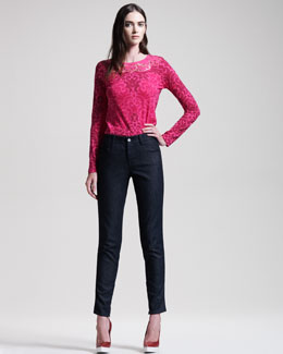 Stella McCartney Scroll-Print Lace-Trim Tee & Jeans With Faux-Leather Tuxedo Stripe