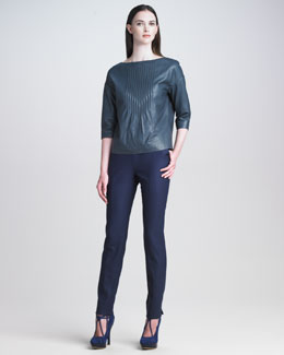 Cacharel Boat-Neck Leather Top & Stretch Flannel Pants
