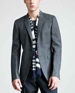 Burberry Prorsum Check Sport Coat & Dog-Print Tee