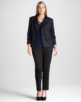 Tahari Woman Shea Denim Jacket, Emille V-Neck Blouse & Jasmina Pants, Women's