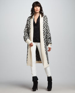 Rachel Zoe Nikki Long Jacquard Cardigan, Eleanor Shawl-Collar Top & Hutton Flared Leather Pants