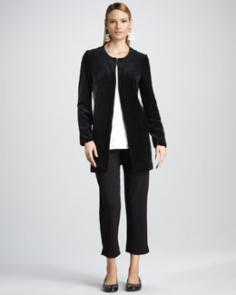 Joan Vass Long Velour Jacket, Long Lace Tunic & Slim Ankle Pants