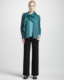 Eileen Fisher Ribbed Wool Cardigan, Silk Sleeveless Tank, Silk Beaded Scarf & Crepe Wide-Leg Pants, Petite