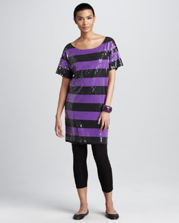 Joan Vass Sequined Tunic & Cropped Jersey Leggings, Petite