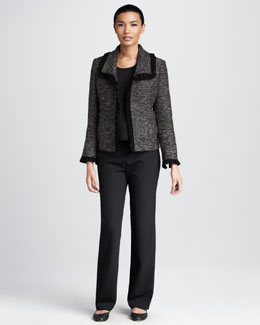 Caroline Rose Ruffle-Trim Tweed Jacket, Basic Travel Tank & Straight-Leg Travel Pants