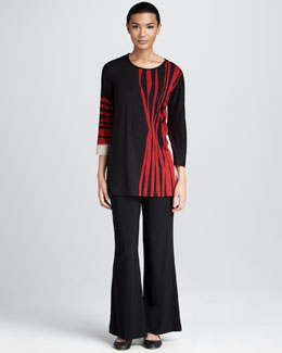 Caroline Rose Zebra-Stripe Tunic & Stretch-Knit Wide-Leg Pants, Petite