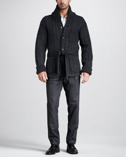 Dolce & Gabbana Shawl-Collar Cable Cardigan, Covered-Button Dress Shirt & Micro-Herringbone Pants