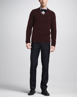 Lanvin V-Neck Sweater, Contrast-Sleeve Check Shirt & Grosgrain-Waist Pants