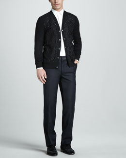 Lanvin Laser-Cut Cardigan, Dress Shirt & Grosgrain-Waist Pants