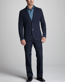 Zachary Prell Morton Brushed Cotton Blazer, Enright Check Sport Shirt & Stanton Straight-Leg Pants