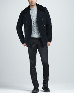 Belstaff Moleskin Pea Coat, Handknit Cable Sweater & Chino Motorcycle Pants