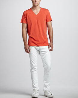 Theory Stretch-Jersey V-Neck Tee & Slim Five-Pocket Pants