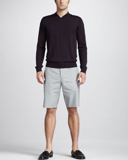 Theory High-Neck Wool Sweater & Fine-Stripe Shorts