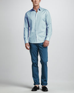 Theory Striped Sport Shirt & Slim Four-Pocket Pants