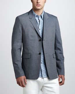 Theory Cotton Blazer & Dot-Print Sport Shirt