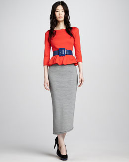 Alice + Olivia Patty Peplum Top & Darcey Striped Maxi Skirt