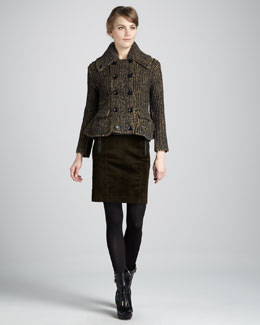 Burberry Brit Heritage Tweed Peplum Jacket & Corduroy Pencil Skirt