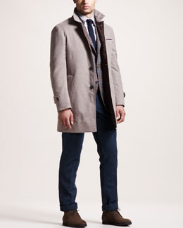Brunello Cucinelli Thermore-Fill Jacket, Plaid Sport Coat, Check Sport Shirt & Basic Flat-Front Pants
