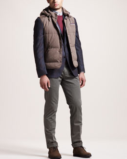 Brunello Cucinelli Hooded Vest, Windowpane-Check Blazer & Herringbone Flat-Front Pants