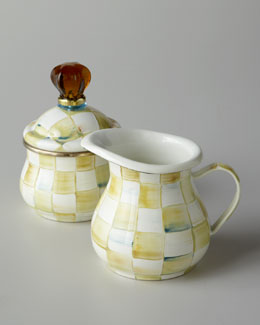 "MacKenzie-Childs ""Parchment Check"" Creamer & Sugar Bowl"
