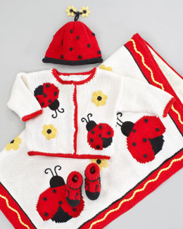 Art Walk Ladybug and Daisies Blanket, Hat, Sweater & Booties