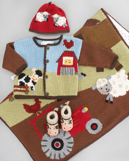Art Walk Farmyard Blanket, Hat, Crochet Booties & Sweater