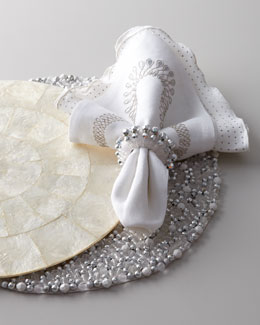 Kim Seybert Beaded Rock & Capiz Shell Placemats