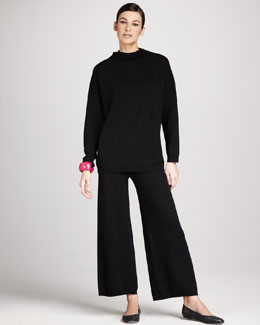 Joan Vass Oversized Hoodie & Wide-Leg Knit Pants
