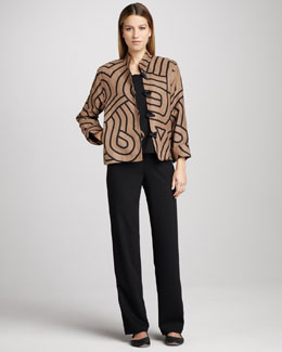 Caroline Rose Graphic Suede Jacket, Sleeveless Crepe Tank & Stretch-Gabardine Travel Pants