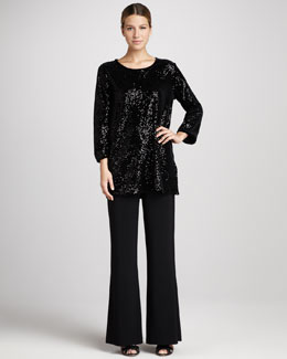 Caroline Rose Sequined Velvet Tunic & Classic Wide-Leg Pants, Petite