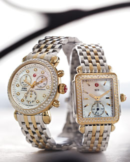 Michele Deco Watch, Bracelet Strap, Diamond Watch & Two-Tone Bracelet Strap