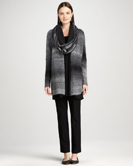Eileen Fisher Ombre Cardigan, Long-Sleeve Wool Tunic, Neck Warmer, Straight-Leg Pants, Petite