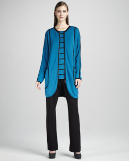 Joan Vass Milano Stitch Long Jacket, Striped Tee & Boot-Cut Ponte Pants