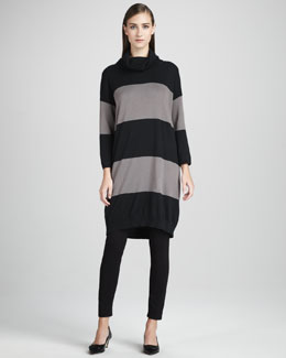 Joan Vass Long Bold-Striped Tunic & Cropped Jersey Leggings, Women's