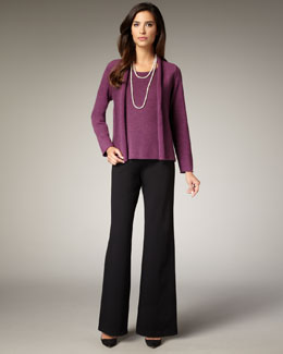 Eileen Fisher Washable-Wool Ribbed Jacket, Shell & Wide-Leg Wool Pants, Women's