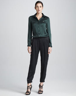 Three Dots Silk Button-Front Shirt & Leisure Pants