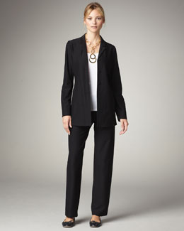 Eileen Fisher Washable-Crepe Jacket, Pants & Long-Sleeve Jersey Tee, Women's