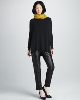 Vince Loose Boat-Neck Sweater, V-Neck Tee, Fringe Scarf & Relaxed Leather Pants