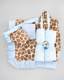 Swankie Blankie Giraffe-Print Collection, Blue