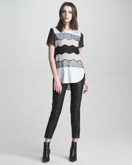 3.1 Phillip Lim Wavy-Striped Lace-Applique T-Shirt & Studded Leather Jodhpur Pants