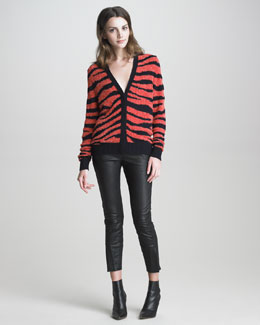 3.1 Phillip Lim Tiger Intarsia-Knit Cardigan & Studded Leather Jodhpur Pants