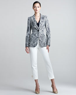 Escada Ocean-Print Blazer, Cap Sleeve Shell & Techno Ankle Pants