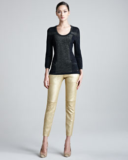Escada Metallic Knit Sweater & Leather Stretch Leggings