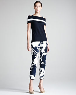 Escada Off-the-Shoulder Single-Stripe Top and Printed Pants