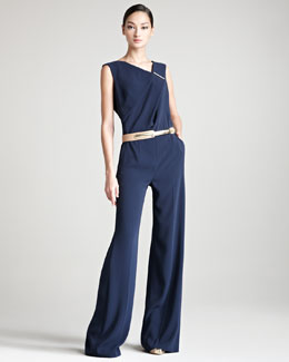 Escada Tobit Sleeveless Asymmetric Jumpsuit & Calfskin Belt