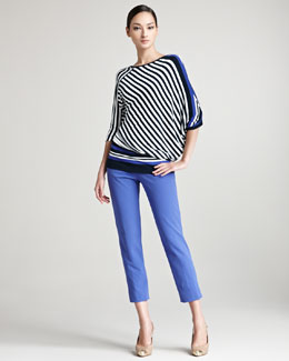 Escada Edelmaran Dolman Sleeve Striped Top & Techno Ankle Pants
