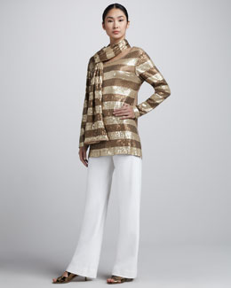 Joan Vass Sequined Tunic, Boot-Cut Pants, & Scarf